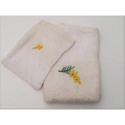 Handdoek en washandje Mimosa